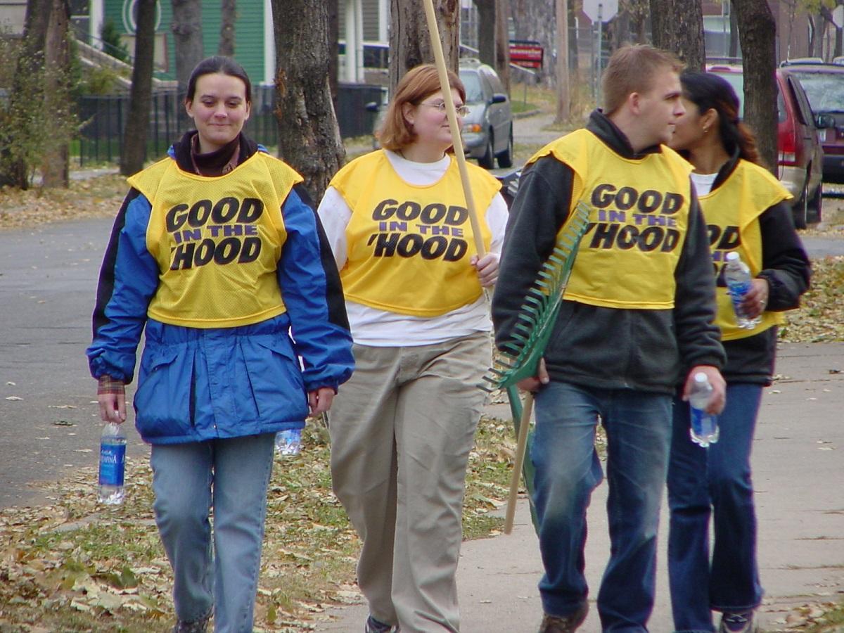 volunteer walking in sidewalk image